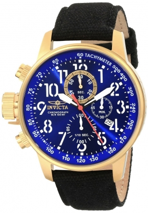 Invicta Men's I Force Collection 18k Gold Ion-Plated Stainless Steel and Cloth Watch