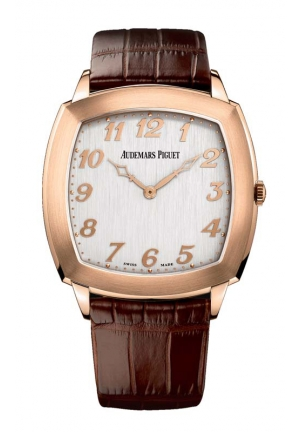 AUDEMARS PIGUET Tradition Silver Dial Brown Leather Mens Watch 15335OR 41mm