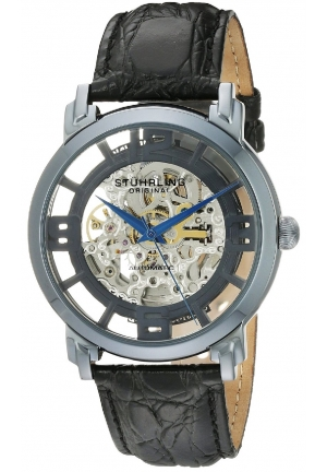 Stuhrling Original Men's  Classic Winchester Grand Automatic Skeleton Blue Watch