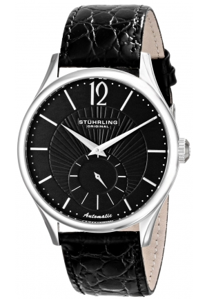 Stuhrling Original Men's  Classic Cuvette Soleil Analog Display Automatic Self Wind Black Watch