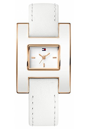 TOMMY HILFIGER Women's Fashion White Enamel and Rose Gold 39mm