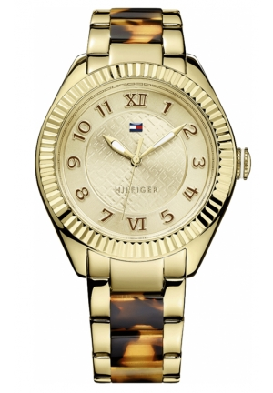 TOMMY HILFIGER Women's Tortoise and Gold-Tone Stainless Steel Bracelet 41mm