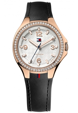 TOMMY HILFIGER Women's Black Silicone Strap Watch 38mm