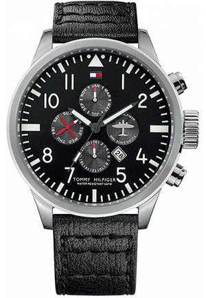TOMMY HILFIGER Men's Black Leather Strap 46mm