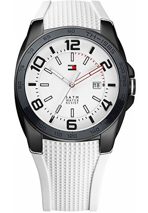 TOMMY HILFIGER Men's White Silicone Strap 44mm