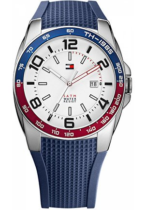 TOMMY HILFIGER Men's Navy Silicone Strap 44mm