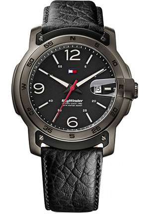 TOMMY HILFIGER Men's Black Leather Strap 48mm