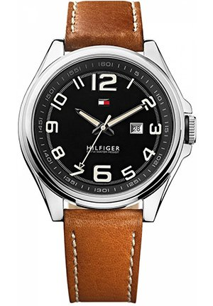 TOMMY HILFIGER Men's Interchangeable Brown Leather and Black Silicone Strap 46mm
