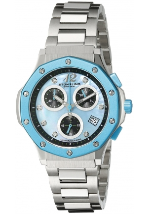 Stuhrling Original Women's Aquadiver Cosmo Quartz Chronograph Date Swarovski Crystal Mother of Pearl Dial Watch
