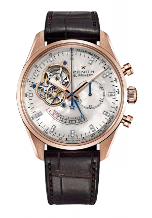 CHRONOMASTER OPEN POWER RESERVE MOTHER OF PEARL DIAL BROWN LEATHER 42MM