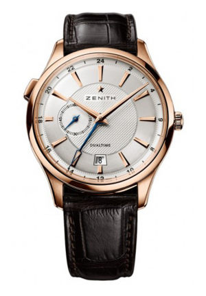 CAPTAIN DUAL TIME SILVER DIAL BROWN LEATHER 40MM