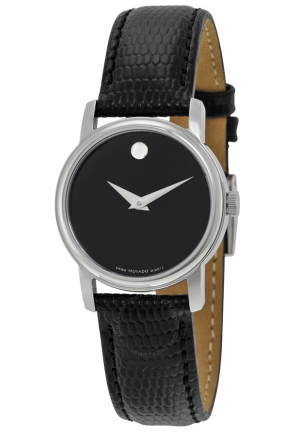 MUSEUM BLACK DIAL BLACK LEATHER STRAP LADIES WATCH