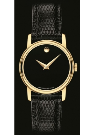 Movado Gold Plated Stainless Steel Case Black Leather Sapphire Crystal