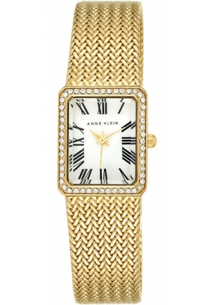 ANNE KLEIN Goldtone Rectangular Crystal Accent Mesh Watch