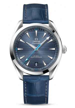 SEAMASTER AQUA TERRA 150M OMEGA CO-AXIAL MASTER CHRONOMETER 41 MM STEEL ON LEATHER STRAP 22013412103002