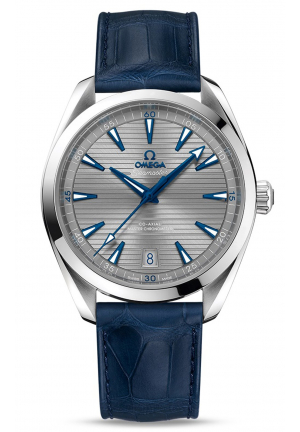 SEAMASTER AQUA TERRA 150M OMEGA CO-AXIAL MASTER CHRONOMETER 41 MM STEEL ON LEATHER STRAP 22013412106001