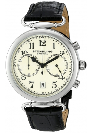 Stuhrling Original Men's Champion Velocity Quartz Chronograph Date Black Leather Strap Watch
