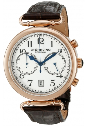 Stuhrling Original Men's Champion Velocity Date Chronograph Quartz Brown Leather Strap Watch