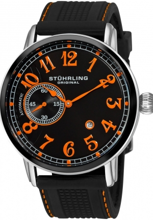 Stuhrling Original Men's Classic Legacy de Novo Automatic Date Black Rubber Strap Watch