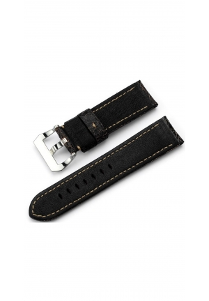 22mm Distressed Cracked Finish Genuine Calf Leather Tang Watch Band
