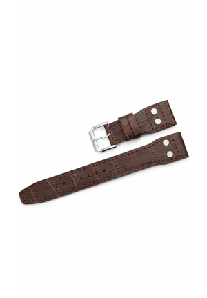 22mm Embossed Croco Grain Calf Leather Rivet Watch Band