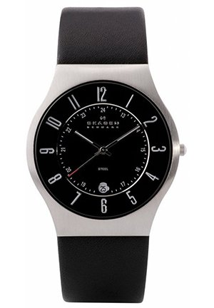 Black Leather and Steel Watch 37mm