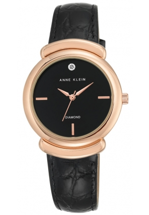 Anne Klein Women's AK/2358RGBK Diamond-Accented Rose Gold-Tone and Black
