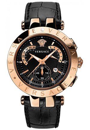 Men's Chrono Black-dial Rose-Gold Plated Watch 41.5mm