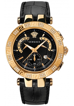VERSACE Swiss Chronograph V-Race Diamond Black Alligator-Embossed 46mm