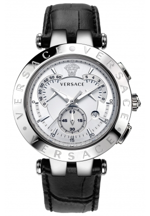 "VERSACE ""V-Race"" Watch with Leather Band 42mm"