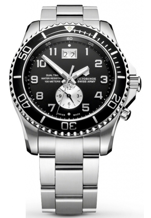 VICTORINOX SWISS ARMY Men's Maverick GS Dual Time Black Double Date Dial Watch 241441 43mm