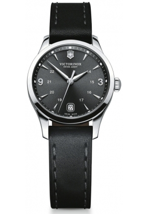 Alliance Black Dial Black Leather Ladies Watch 241474 30mm