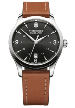 VICTORINOX SWISS ARMY Men's Alliance Black Dial Brown Strap Watch 241475 40mm