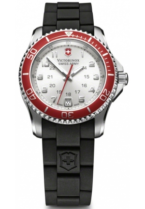 VICTORINOX SWISS ARMY Classic Maverick GS Ladies Black Rubber Strap Watch 241484 34mm