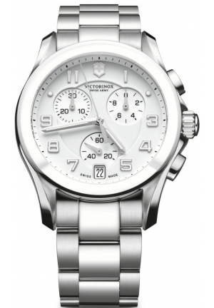 VICTORINOX SWISS ARMY Unisex Silver Chrono Classic with Ceramic Bezel Watch 241538 41mm