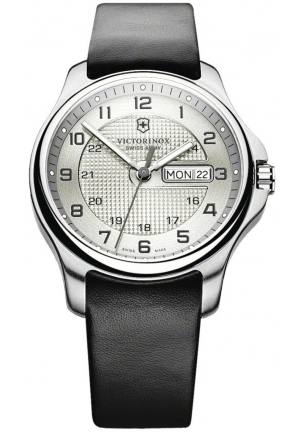 VICTORINOX SWISS ARMY Men's Leather Officers Quartz Analog Silver Dial Watch 241550 40mm