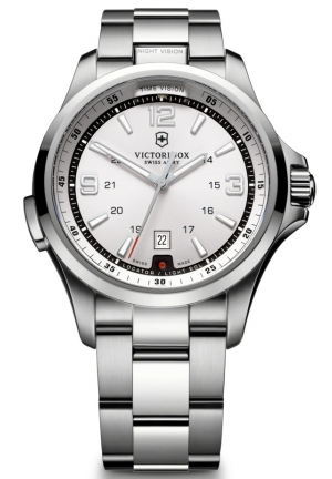 VICTORINOX SWISS ARMY NIGHT VISION SILVER WHITE DIAL BRACELET 241571 42mm