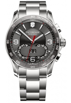 VICTORINOX SWISS ARMY Victorinox Unisex Chrono Classic Analog Display Swiss Quartz Silver Watch 241618 41mm