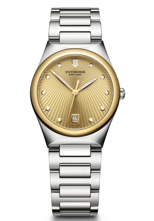VICTORIA GOLD DIAL STAINLESS STEEL LADIES WATCH 241633, 32MM