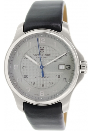 Victorinox Swiss Army Men's Officers Black Leather Swiss Automatic Watch 241672