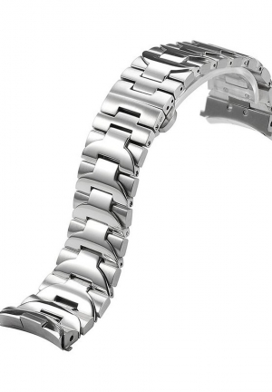 24mm Curved End Stainless Solid Steel Brushed/Polished Metal Watch Bracelet
