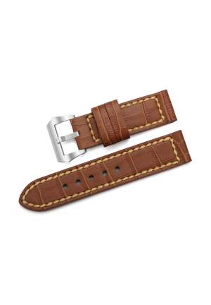 24mm Embossed Croco Grain Calf Leather Mens Watch Band