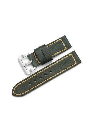 24mm Full Grained Calfskin Leather Watch Band Hand Stitched Strap