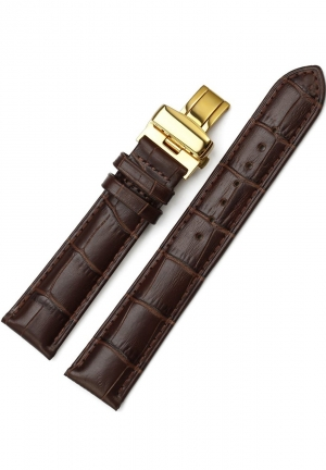 24mm Genuine Leather Strap Butterfly Deployment Buckle Watch Band