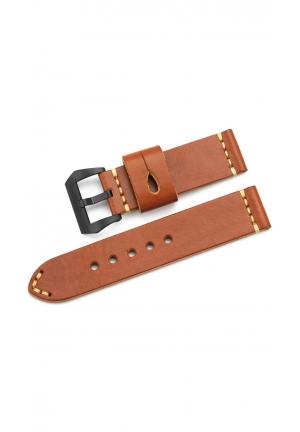 24mm Genuine Leather Watch Band Panerai Style Vintage Double Layer Strap