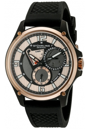 Stuhrling Original Men's Classic Ascot Atlas Automatic Power Reserve Date Rubber Strap Watch