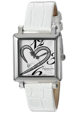 Stuhrling Original Women's  Amour Aphrodite Courtly Passion Swiss Quartz Diamond Date White Watch