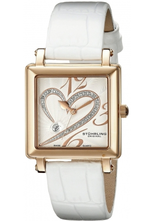 Stuhrling Original Women's Amour Aphrodite Courtly Passion Quartz Diamond Date White Watch