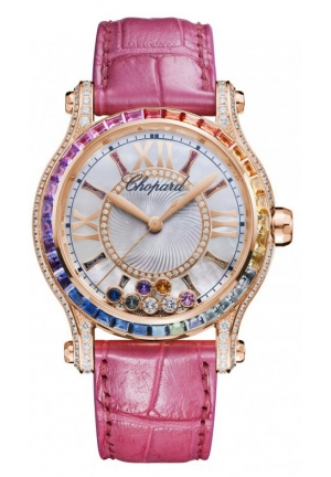 CHOPARD Happy Sport 18k rose gold, colored stones and diamonds Automatic Watch, 36mm