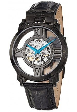 Stuhrling Original Men's Classic Winchester Cross Automatic Skeleton Black Leather Strap Watch
